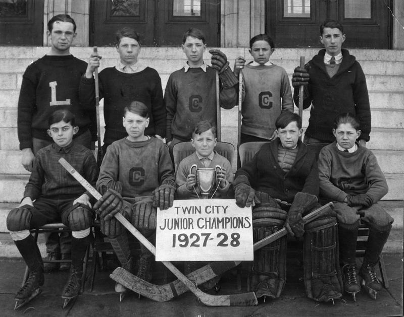 The Cyclones were a legendary Franco-American hockey team, was organized by J.B. Marcotte in 1926. Front row: Roland Gagnier, Ronaldo (Babe) Tremblay Roy, Gérard (Kiko) Leblanc, Marius Legendre, Roland Saucier. Back row: Roger Saucier, Fern (Monk) Lepage, Gérald (Gidi) Saucier, Henry (Hank) Desjardins, Julien (Jules) Deshaies, team manager. The Cyclones, a legendary Franco-American hockey team, was organized by J.B. Marcotte in 1926. (photo courtesy of Franco-American Collection, Univ. of Southern Maine, Lewiston-Aubutn College)