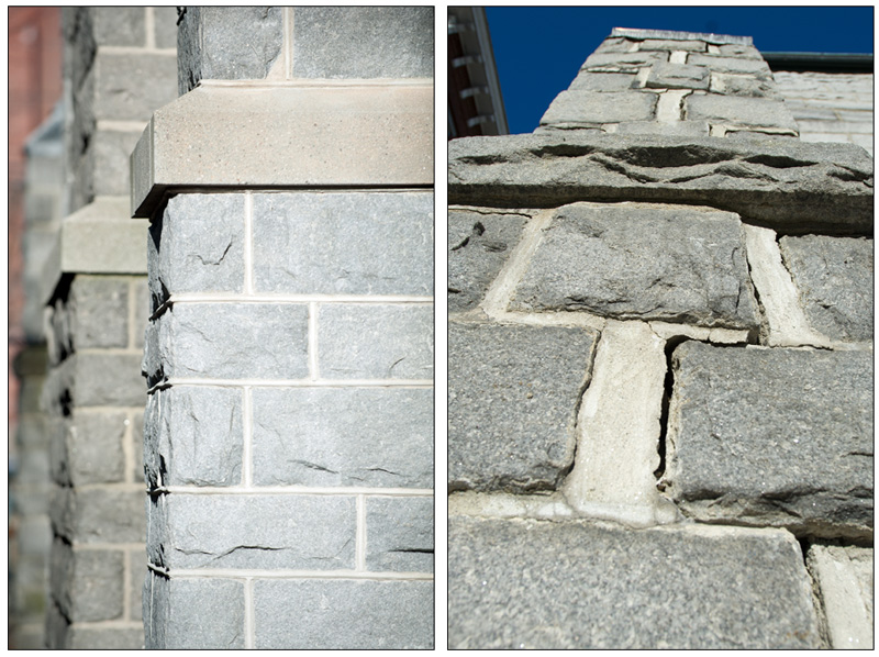 "At left is a section of an outside wall that has been repointed by a professional mason. At right is a section of a buttress that still needs attention. Please consider making a donation by clicking the ""Donate"" button in the left column of this page. (+ click to enlarge)"