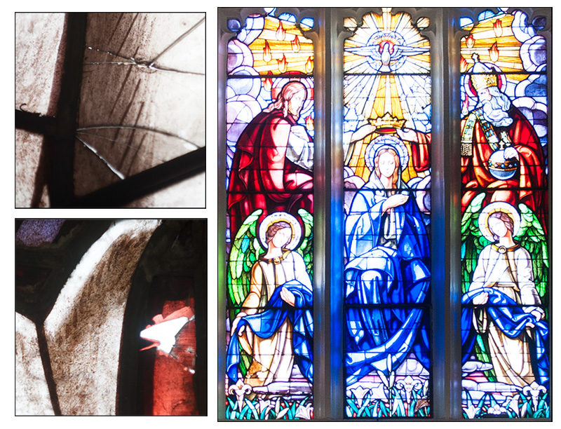 Our stained glass windows look magnificent from a distance, but a closer look reveals cracks (top left) and missing pieces (bottom left). (+ click to enlarge)